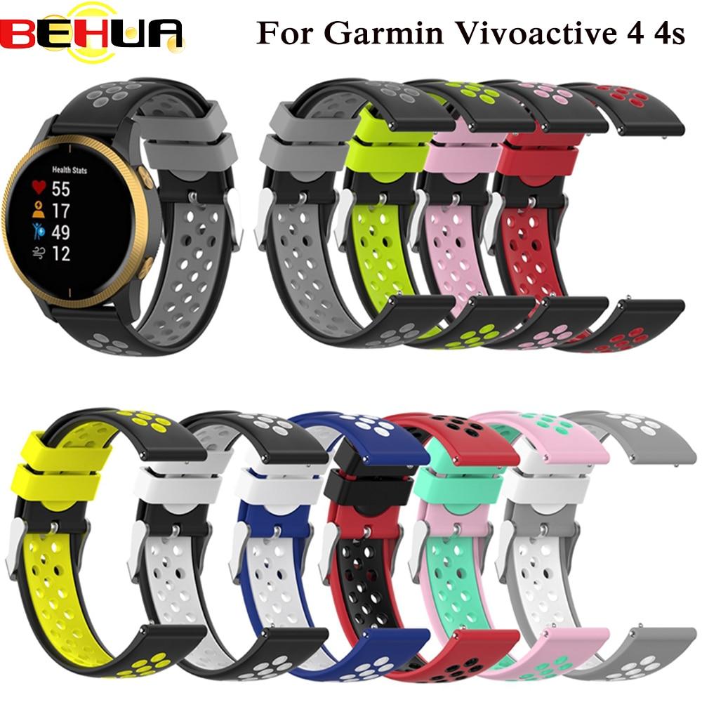 Silicone Breathable Watchband Strap For Garmin Vivoactive 4 4s Smart Watch Bracelet 18mm 22mm Wrist Band Outdoor Sport Correa