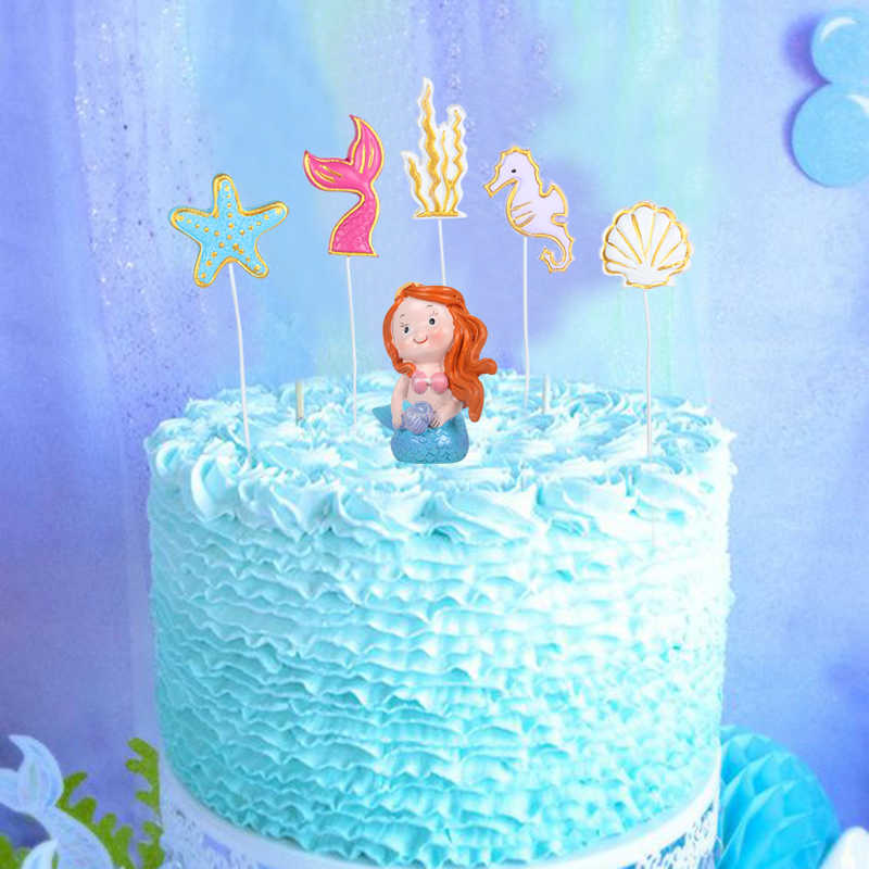 Topper de Baby Shower sirena de Cupcake Topper 11 piezas Topper para fiesta de mar decoraci/ón de pastel tem/ático Mermaid Ocean Gwolf Decoraci/ón de pastel de sirena decoraci/ón de pastel de sirena