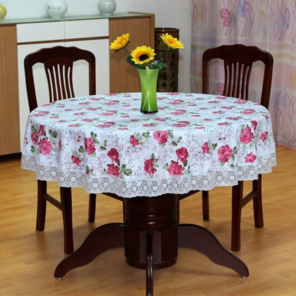 Floral Pattern PVC Round Table Cloth Waterproof Plastic Lace Dining Table  Cover Oilproof Tablecloth Round Home Decoration nappe