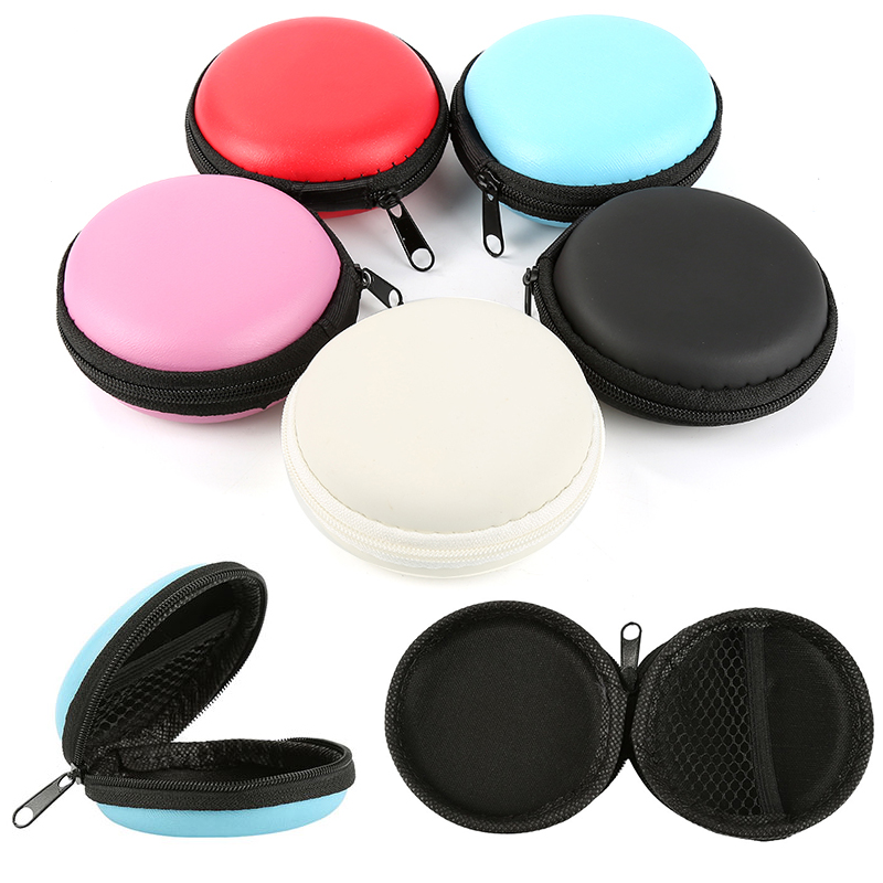 Mini Carrying Zipper Protective Headphone Pouch Headset Box Headset Data Cable Storage Bag Headset Earbuds USB Cable Organizer