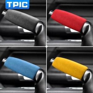 Image 2 - TPIC אלקנטרה רכב בלם יד כיסוי שרוול מדבקה למוסטנג 2015 2020 לקצץ פנים אנטי להחליק אביזרי יד בלם מקרה