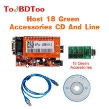 Neue UPA V1.3 Hohe Qualität USB Programmierer Volle Adapter Mit NEC Funktion Mit Host 18 Grün Zubehör CD Und Linie