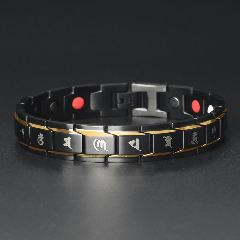 Men Jewelry Healing magnetic Bangle Balance Health Bracelet Silver Titanium Bracelets Special Design for Male in Chain Link Bracelets from Jewelry Accessories