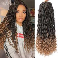 18inch Long Ombre Locs 3pcs Synthetic Fake Dreadlocks Hair Braids Extensions Curly Faux Locs Crochet Braiding Hair Riversa Hair