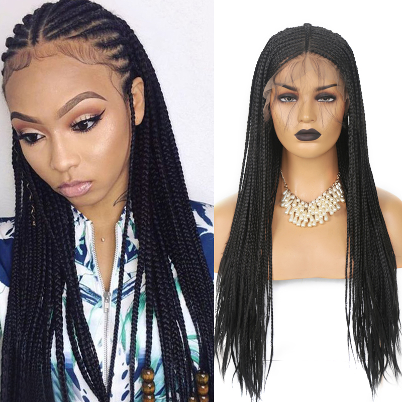 Carisma longo trançado perucas para preto feminino peruca dianteira do laço sintético com o cabelo do bebê profunda parte do laço tranças peruca