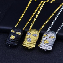 Western New Hip Hop Pendant Necklace Anti-terrorist Hood Rhinestone Mask Pendant Necklace Fashion Stylish Jewelry fashion wild necklace symmetrical five petal flower blue rhinestone elegant rhinestone pendant sweater long necklace jewelry