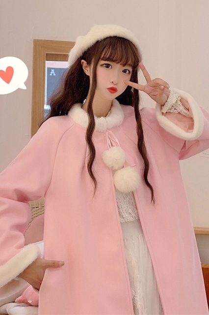 Sweat Outerwear women's autumn and winter 2020 new sweet and lovely wool collar loose tie cloth Cape long student coat 4