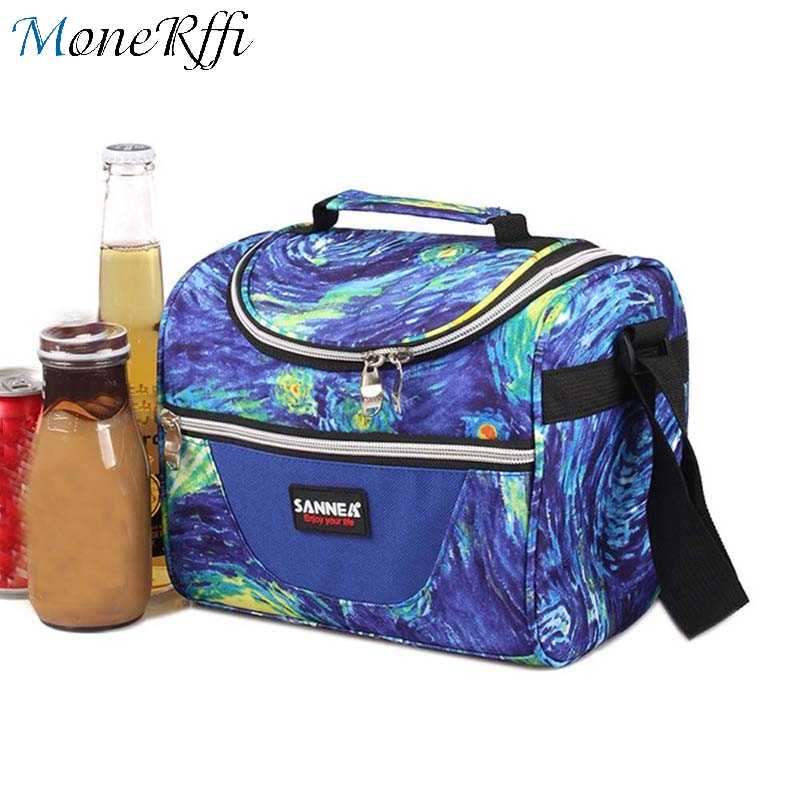 MoneRffi Lunch Bag Double Zipper Painting Insulation Therma Lunchbox Bags For Food Lonchera Picnic Portable Bolsa Termica