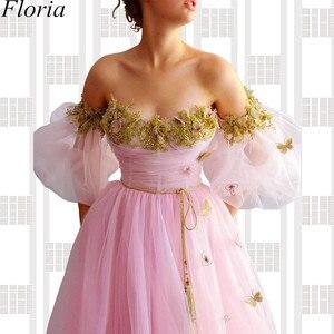 Image 2 - Nuevo vestido de noche largo de hada rosa con hombros descubiertos con flores vestido de graduación bata de soiree costura turca Vestidos de fiesta para mujer