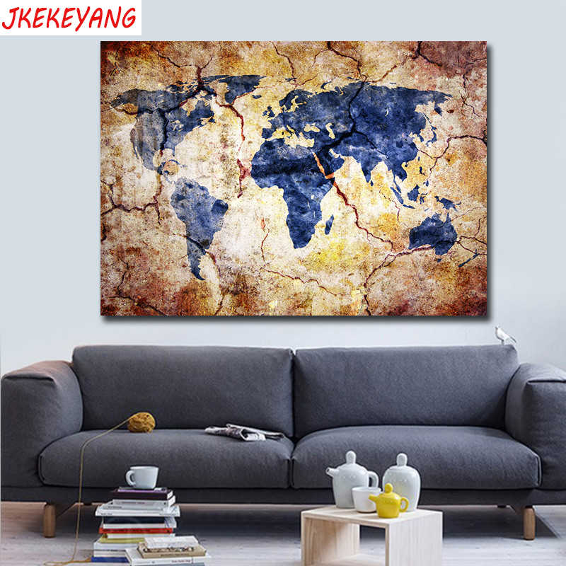 5D Diamond Painting World Map Embroidery Cross Stitch Modern Garden Home Decors