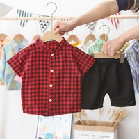 Boy Round Neck Suit Summer Children's Clothing Children's Short sleeved Black Red Lattice Top + Shorts Boy Outfit Clothes 2020