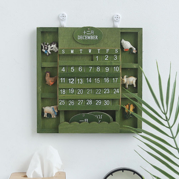 Rustic Bilingual Calendar Furniture Mediterranean Hanging Wooden Manual Crafts