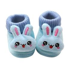 Smartbabyme Autumn And Winter Cuffs 3D Cartoon Big Eyes Rabbit Baby Toddler Shoes Boys And Girls Shoes(China)