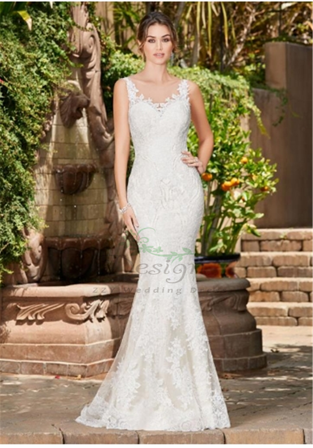 Unique White Trend-worthy Lace Sheath Robe Mariage Scoop Appliques Beading Dropped Illusion Mermaid Custom-Made Wedding Dresses