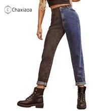 Women Jeans Spliced Sports-Pants Vintage Girls Washed Denim High-Waist Straight New-Fashion