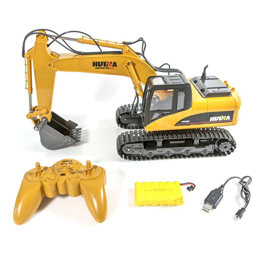 RC Truck Excavator 15CH 1:14 Construction Digger Wireless Bulldozer+Remote Control Alloy Excavator Birthday Gift image