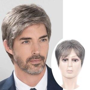 Короткий парик для мужчин, прямой синтетический парик для мужчин среднего и пожилого возраста, реалистичные натуральные парики для волос
