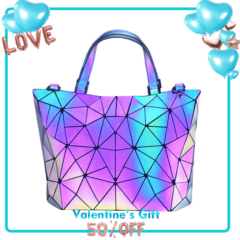 IDEAS FOR 2020 TangDe Geometric Purse Holographic Purse And Handbag Color Changes Luminous Purse For Women Bolso Mujer