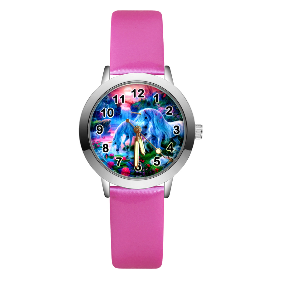 Giá bán Fashion Cartoon pretty Unicorn horse style Childrens Watches Kids Student Girls Boys Quartz leather Wrist Watch clock JA168