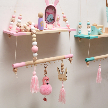 Nordic Children Room Decorative Storage Rack Double Wooden Bead Tassels Shelves Wall Rope Hanging Shelf Home Hook Kids Coat Rack