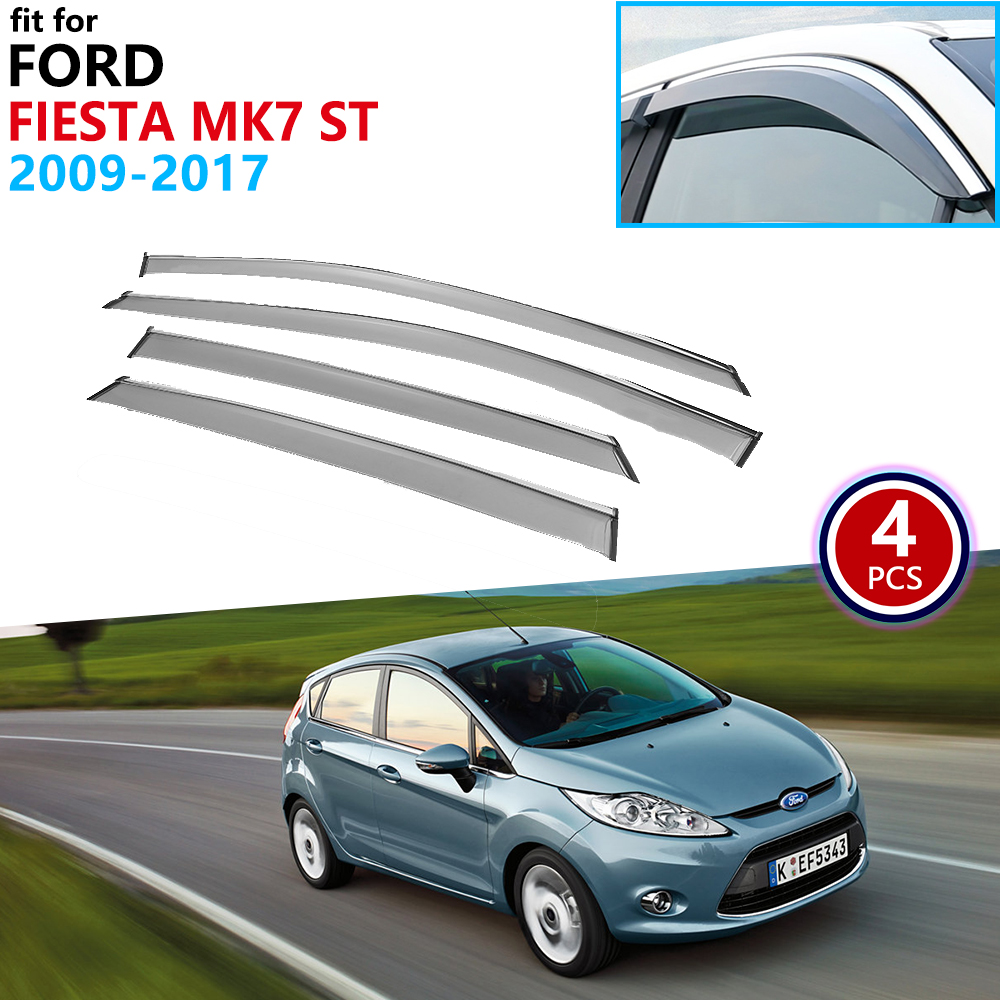 For Ford Fiesta MK7 2009 2010 2011 2012 2013 2014 2015 2016 2017 Window Visor Vent Awnings Rain Guard Deflector Car Accessories