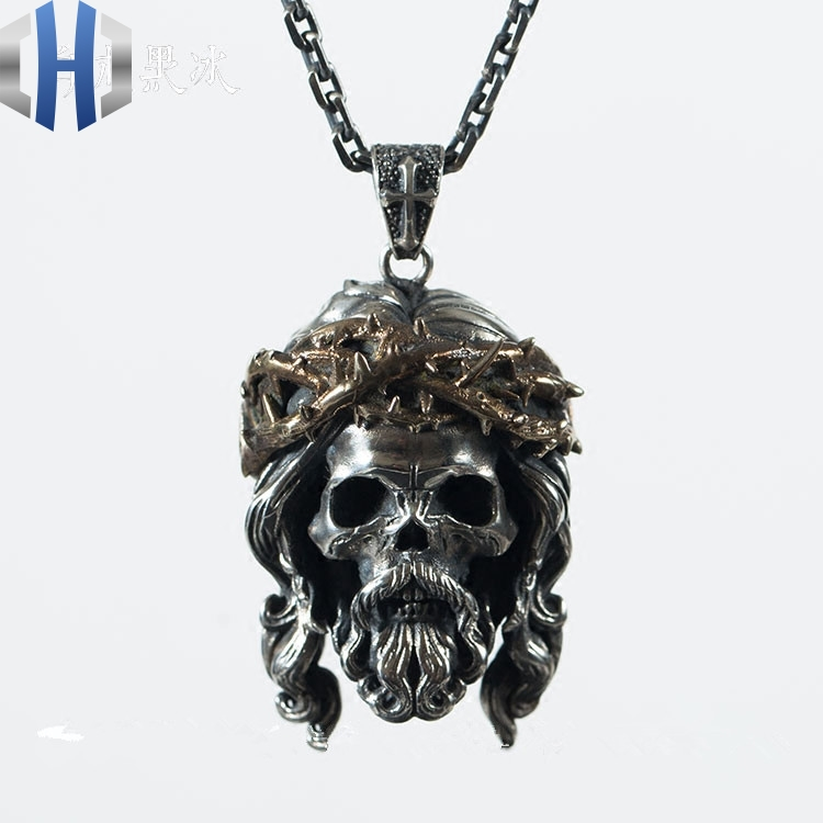 God Jesus Skull 925 Silver And Copper Mixed Thorns Pendant Necklace Pendant Pendant Jewelry in Pendant Necklaces from Jewelry Accessories