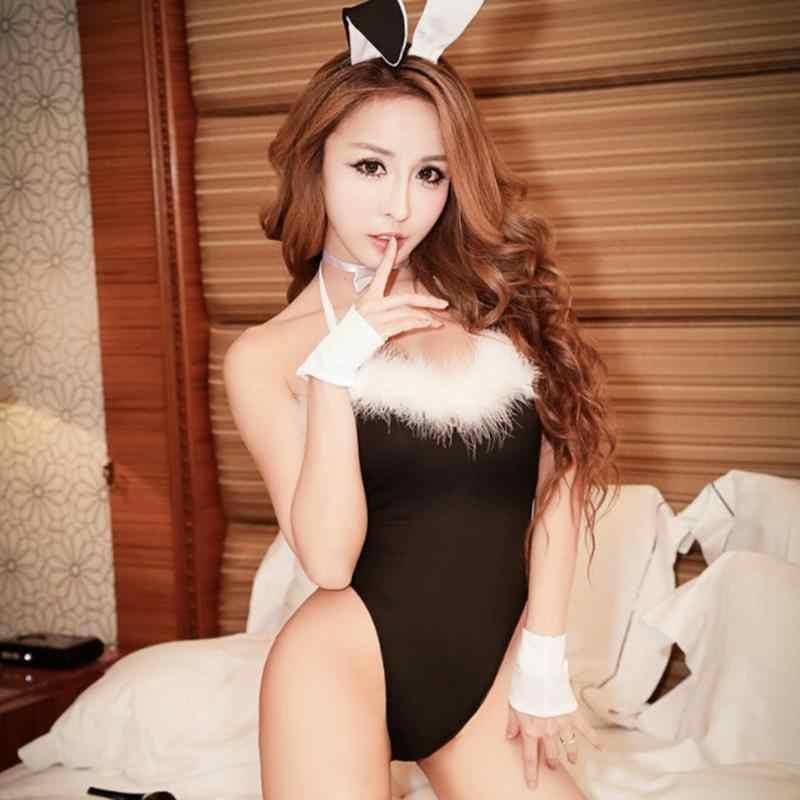 المرأة النوم ملابس خاصة لطيف الأرنب فستان مثير ملهى ليلي جوارب هوب الأذن ملابس أرنب مثير الملابس الداخلية ازياء تأثيري