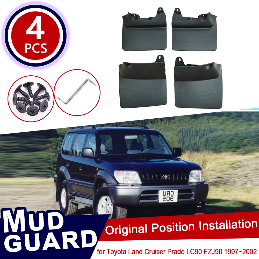 for Toyota Land Cruiser Prado LC90 FZJ90 90 1997~2002 Car Mud Flaps Front Rear Mudguard Splash Guards Fender Mudflaps Flap 2001|Car Stickers| |  - title=