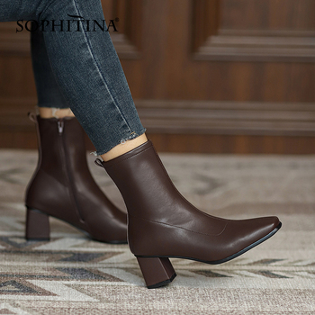 Ankle Women Boots Elegant Genuine Leather Zipper Lady Boots Square Toe High Heel Spring Autumn New Female Shoes SO826 Apparels Shoes