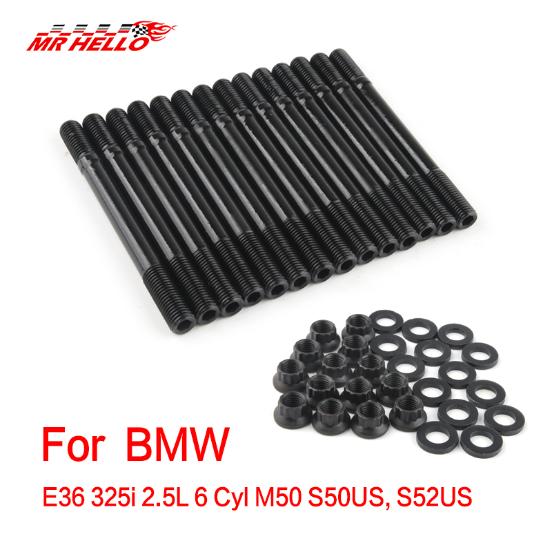 For BMW E36 325i 2 5L 6 Cyl M50 S50US S52US HEAD STUD KIT 202-4301