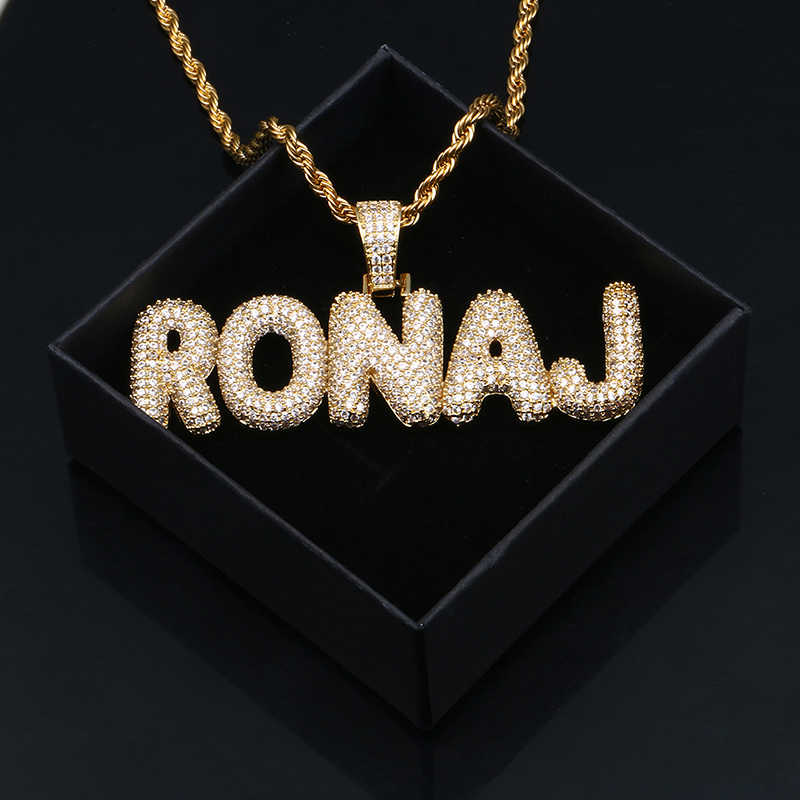 Nama Kustom Es Keluar Huruf Liontin Kepribadian Emas Perak Penuh Kristal Pria Hip-Hop Kalung Fashion Perhiasan Tenis rantai