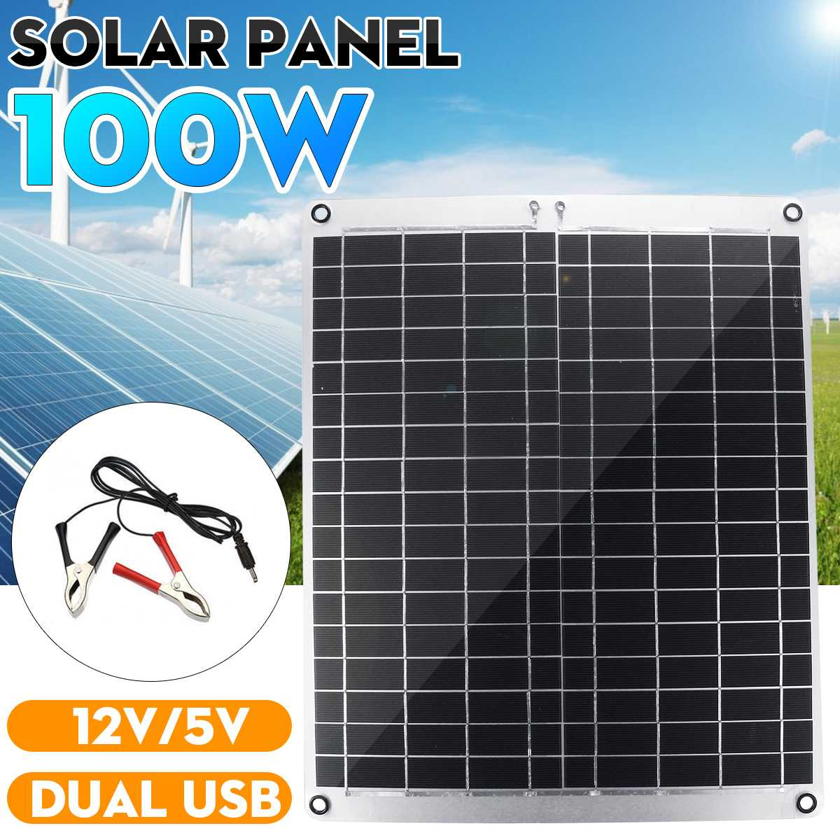 <font><b>100W</b></font> <font><b>Solar</b></font> <font><b>Panel</b></font> Efficient Dual USB Monocrystalline <font><b>Solar</b></font> Cell Module DC for Car Yacht Light RV <font><b>12V</b></font> Battery 5V Outdoor Charger image