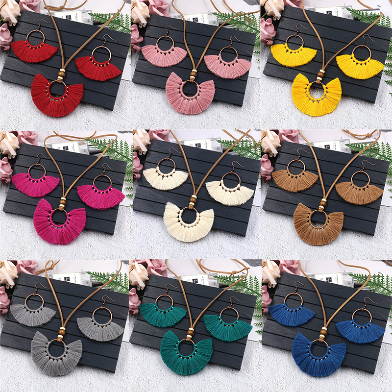 3Pcs Bohemian Colorful Tassel Necklace Earrings Set Hand-woven Earrings Leather Rope Sweater Chain Women Clothing Jewelry Set
