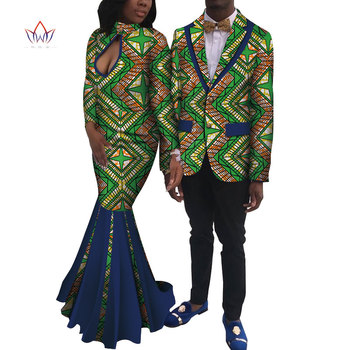 New Lovers Womens Mens African Clothing Two Sets Matching Couples African Clothes Long Sleeve Summer Wedding Dress 6XL WYQ250