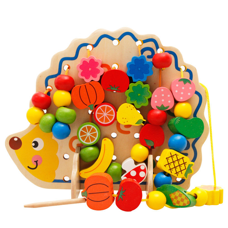 Baby Wooden Beads Toys Set DIY Hedgehog Board Fruits Vegetables Lacing Stringing BeadsToy Kids Threading Beads Game Montessori