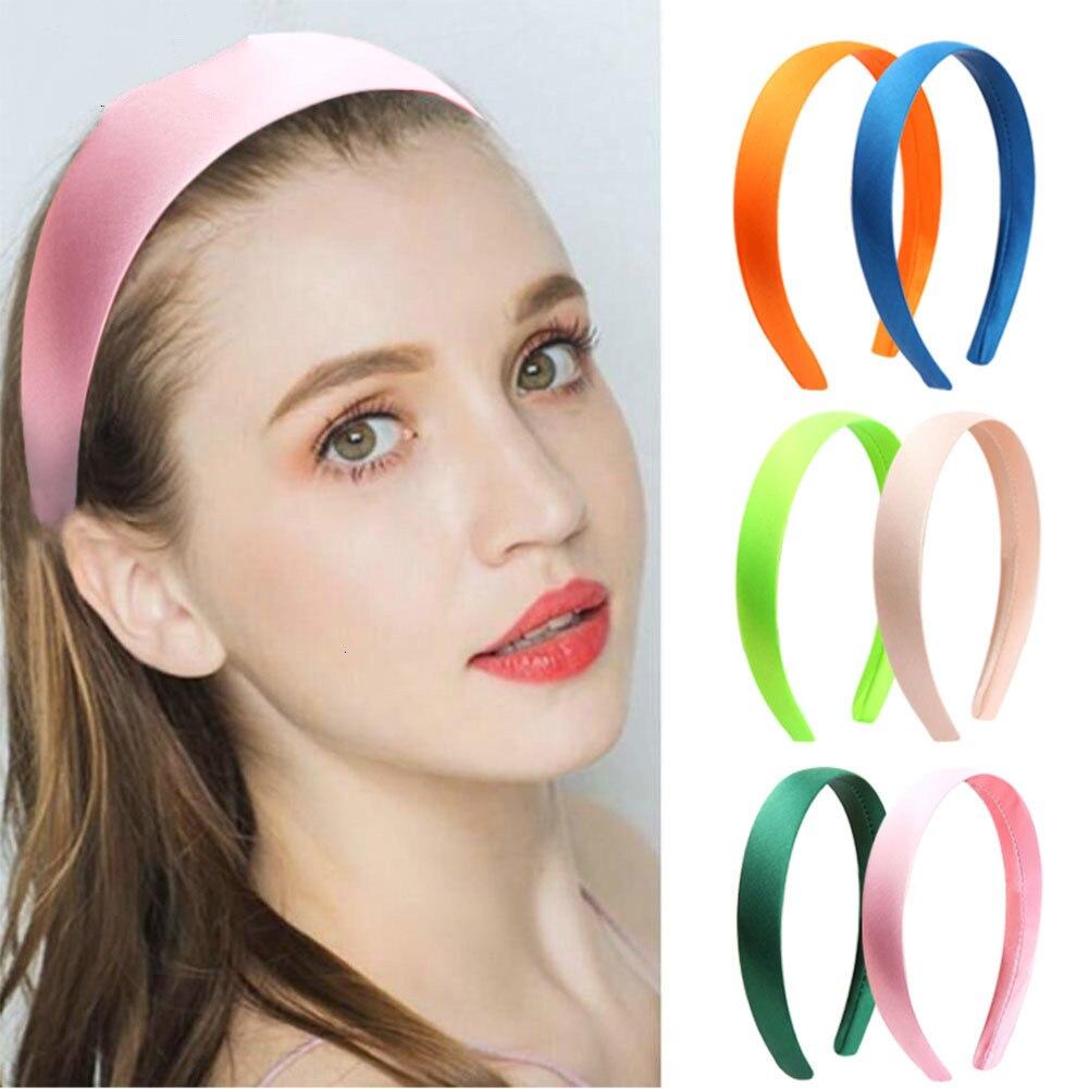 2CM Solid Color Plain Haribands Satin Headband Women Hair Accessories Girls Simple Headbands Head Hoop Tiaras 1PCS