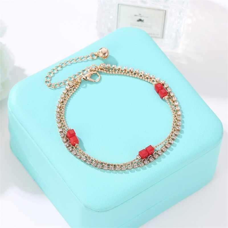 Trendy Simple Three-layer Beaded Rhinestone Bracelet for Women Red Bead Thin Chain Statement Charming Mujer Boho Jewellery Femme