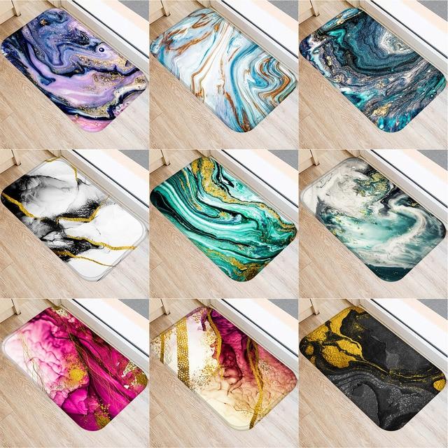 1 Pcs Marble Doormat Kitchen Carpet Anti Slip Nordic Style Colorful Marble Map Velvet Bottom Door Floor Room Dustproof Mats