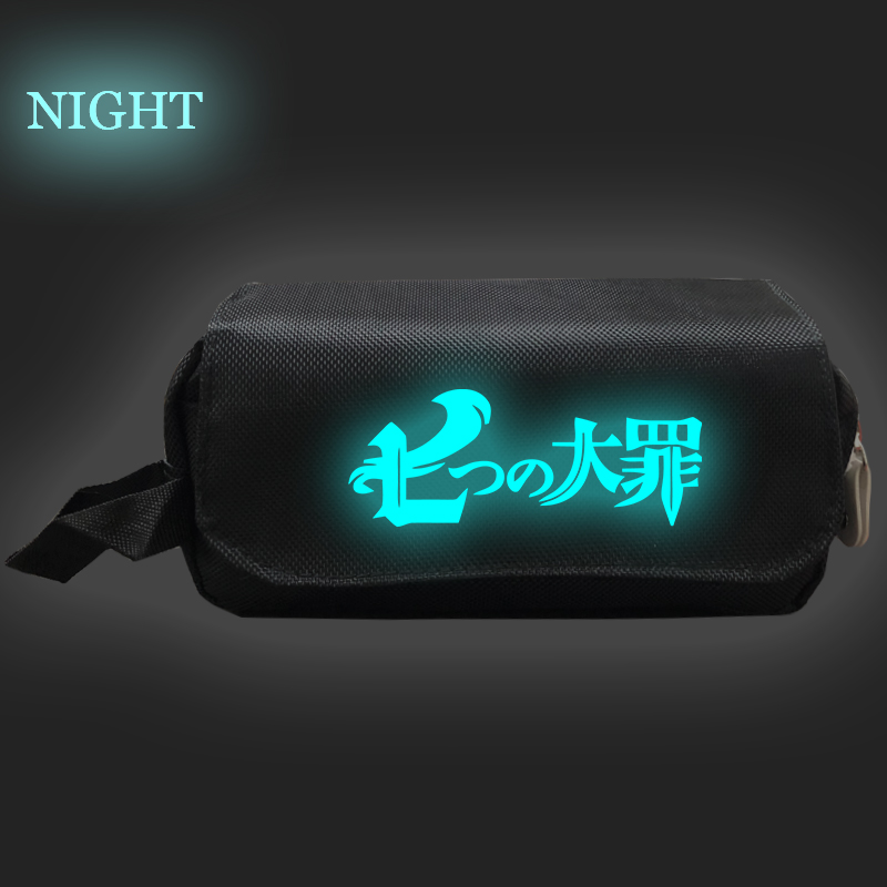 The Seven Deadly Sins Luminous Pencil Bag Students Pen Bag for Kids Fashion Double Layer Cute Stationery Bag Pencil Case