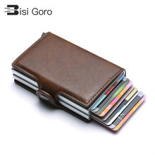 BISI GORO 2020 Men Wallet Business Credit Card Holder Wallet Unisex Metal Blocking RFID Wallet ID Card Case Aluminium Coin Purse(China)