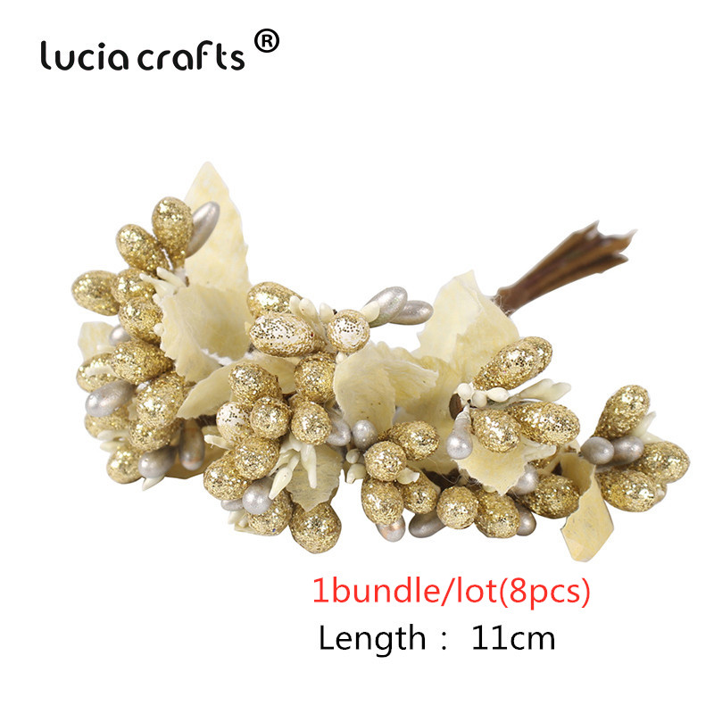 8/10/12/90/144pcs Gold Mixed Hybrid Artificial Flower For Christmas And Wedding Decor 2