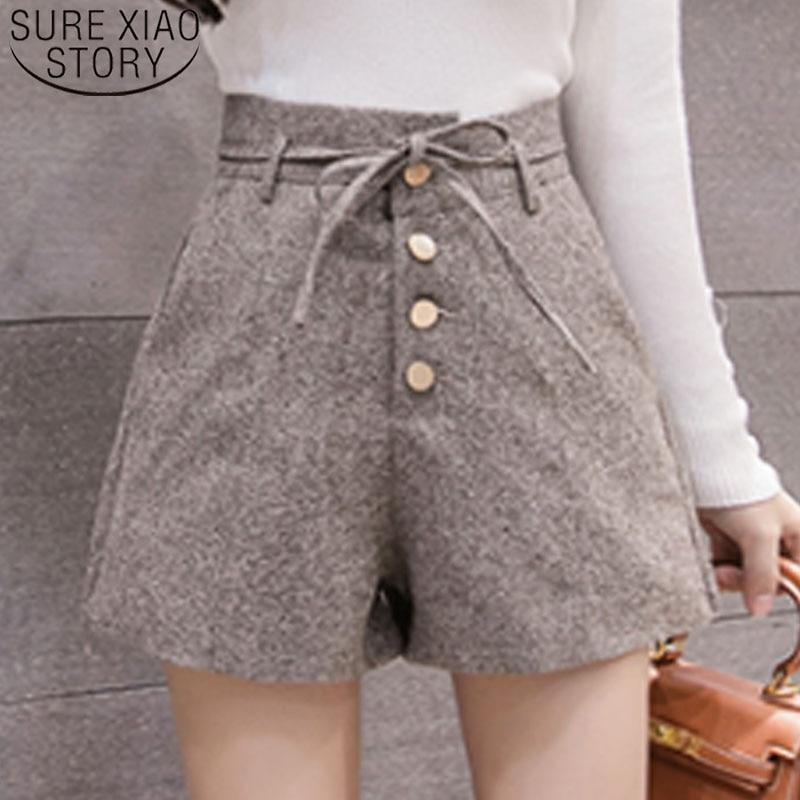 Elegant Leather Shorts Fashion High Waist Shorts Girls A-line Bottoms Wide-legged Shorts Autumn Winter Women 6312 50 121