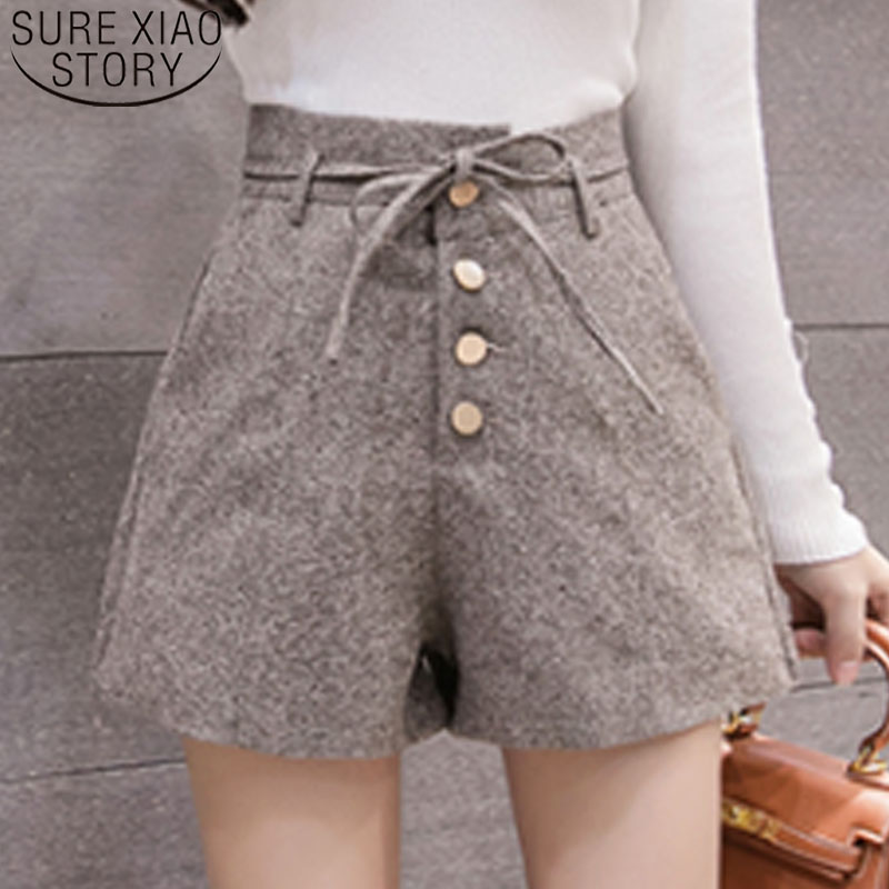 Casual Grey Black Khaki Women Shorts Wide Leg High Waist Shorts New 2019 Fashion Women Autumn Winter Short Pants 6301 50