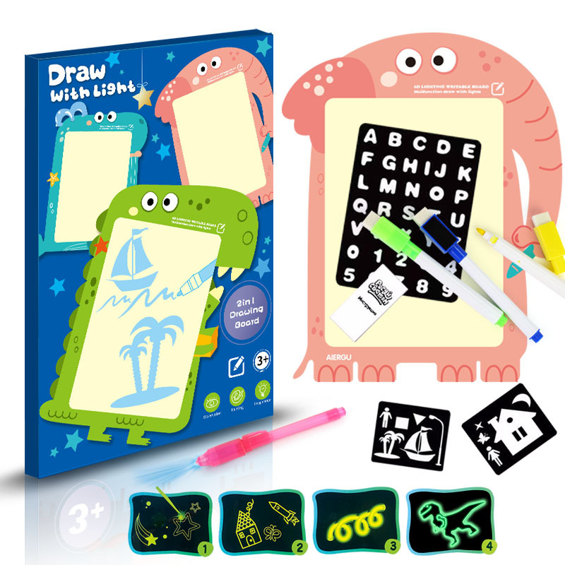 A3 LED Luminous Drawing Board Graffiti Children Doodle Drawing Tablet Magic Draw With Light Fun And Educational Toys Kids Gift