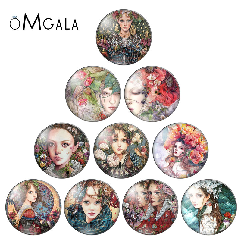 Colorful Oil Painting Girls 10pcs Mixed 10mm/12mm/18mm/20mm/25mm/30mm Round Photo Glass Cabochon Demo Flat Back Making Findings