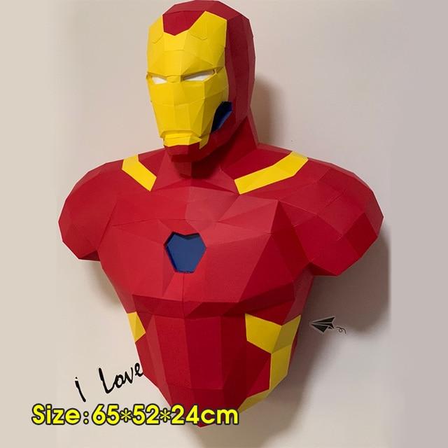 Rompecabezas 3D modelo de papel Spiderman Iron Man Batman y Deadpool Capitán América Papercraft figuras de acción puzles juguetes de niños regalo