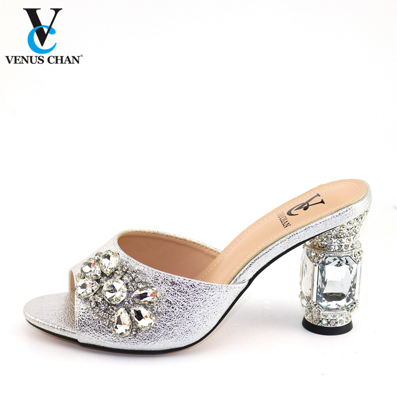 Elegant Silver Large Size For African Women Wedding Shoes Without Bag Popular In Nigerian To Match Italian Pointed Toe Shoes