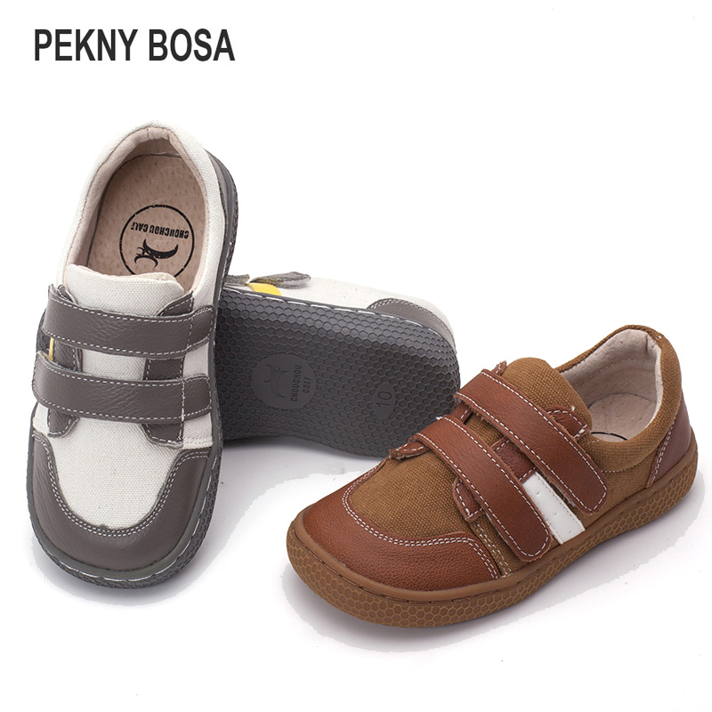 PEKNY BOSA Brand Leather Stitching kids barefoot shoes for boys girls school shoes enough top toe kids sneakers size 25-35