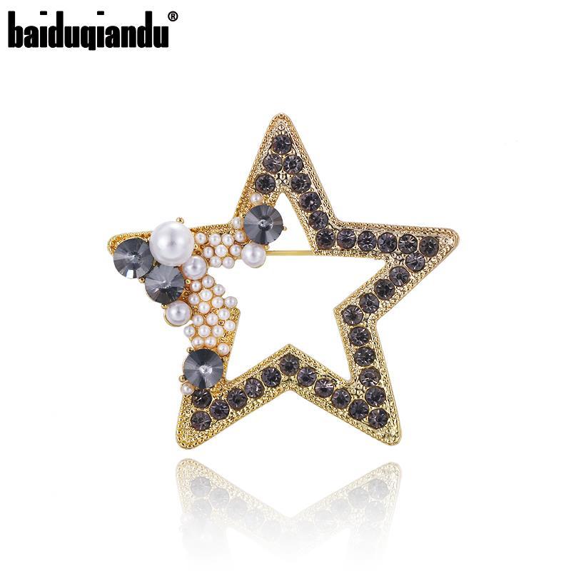 Baiduqiandu Marca Chegada Nova Cor do Ouro Chapeado Moda Jóias Bijoux Estrela Broches para As Mulheres