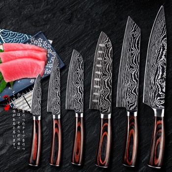 Little Cook Japanese Kitchen Knives Set Laser Damascus Pattern Santoku Cleaver Utility Cleaver Chef Knives Cooking Tools Gadgets